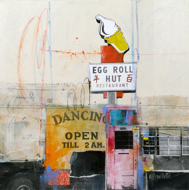 Egg Roll Hut, Mixed-Media Painting